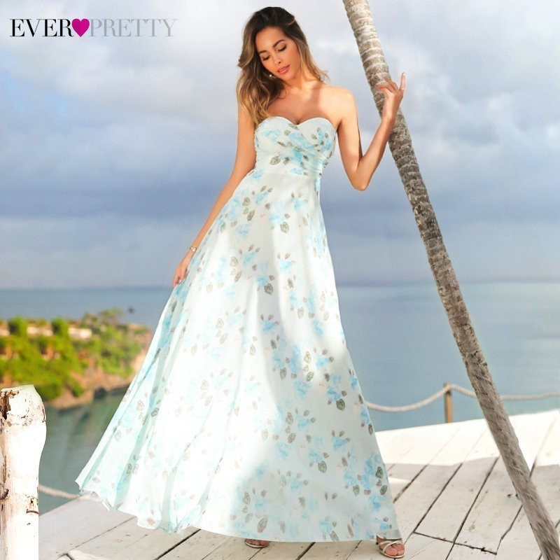 Ever Pretty   Prom     Dresses   Long EP07237 A-line Sleeveless Floral Printed Chiffon Party Gown Sweetheart Vestido De Formatura Longo