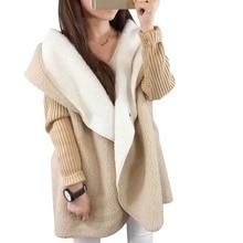 Женщины лоскутное овечьей шерсти толстый свитер элегантный тонкий негабаритных femme длинный кардиган трикотаж осень зима с капюшоном верхней одежды пальто