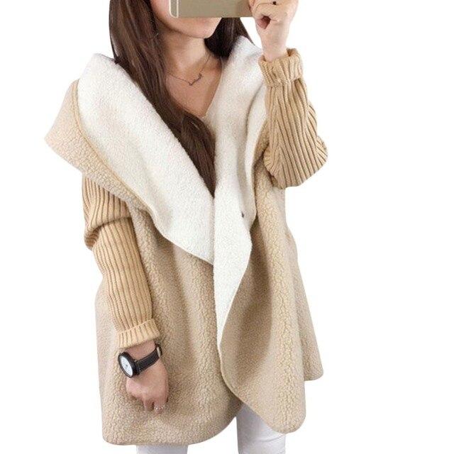 Women patchwork lambswool thick sweater elegant slim oversized femme long  cardigan knitwear autumn winter hooded outwear 5c3ea28fe