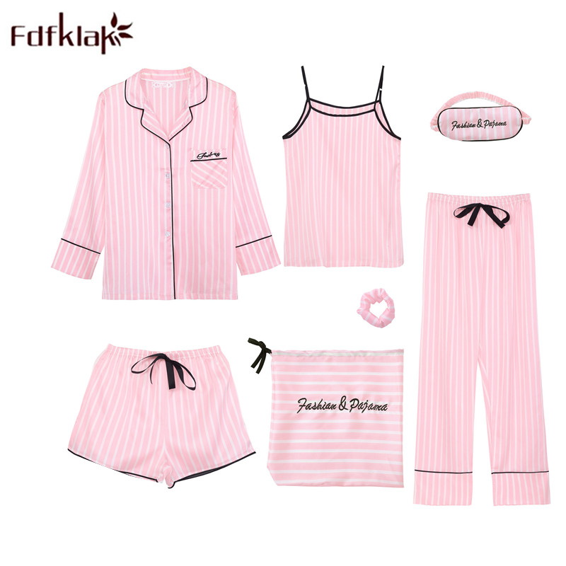 Fdfklak 7 Pcs Pyjamas Women Long Sleeeve Silk   Pajamas     Set   Spring Autumn Satin Home Suit Female Sleepwear   Sets   Pijama Mujer