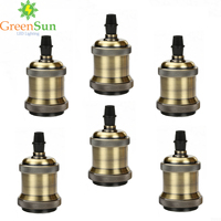 GreenSun 6Pcs Antique Brass E27 Aluminum Retro Lamp Holder Vintage Screw Bulb Base Pendant Lighting Socket Ceiling Light Adaptor