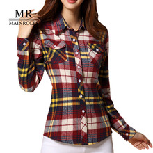 MAINROLES Top Female 14 Colors Women Plaid Shirt Plus Size Blouse Blanche 2017 Autumn Shirt Women Winter Blouses Lattice Tweed