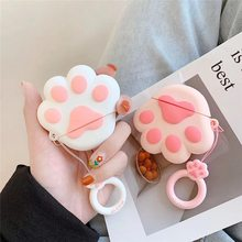 Cute Cat Caw Earphone Cover For Apple AirPods Case Cartoon Silicone Soft Full Protective