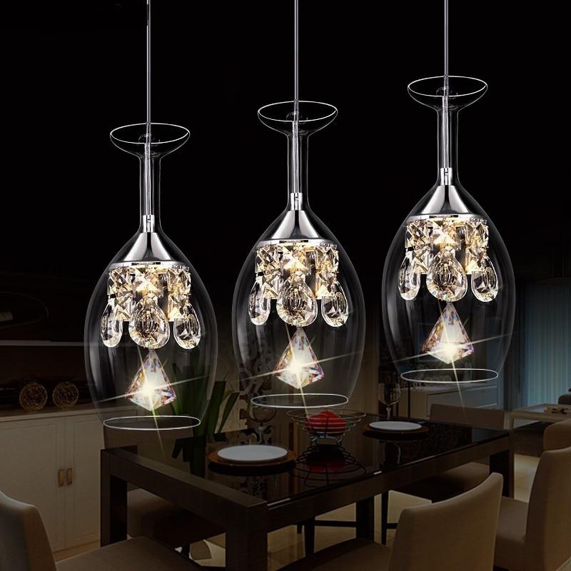 LED restaurant small glass Pendant lamps  1/3 heads lamps restaurant crystal Pendant Lights single Pendant lamps SJ76
