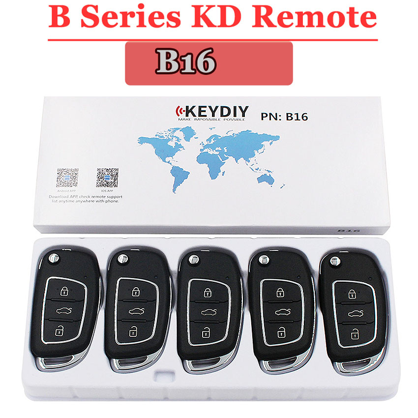 (5PCS/LOT)B16 KEYDIY  Remote Control 3 Button B Series Remote Control For KD900 URG200 KD200 Make New Remote Key