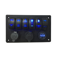 AUTO 5 Gang Waterproof Marine Blue Led Switch Panel With Power Socket Circuit Breakers Switch Car