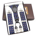 Brown Genuine Leather Y-Back Plaid Navy Blue Suspender Women's strap trousers 4 Clips Party Braces 3.5cm*120cm Gift Box MBD8420