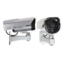 Wholesale 2X Quality Solar Powered Dummy Surveillance Red LED Light Security CCTV Camera Silver