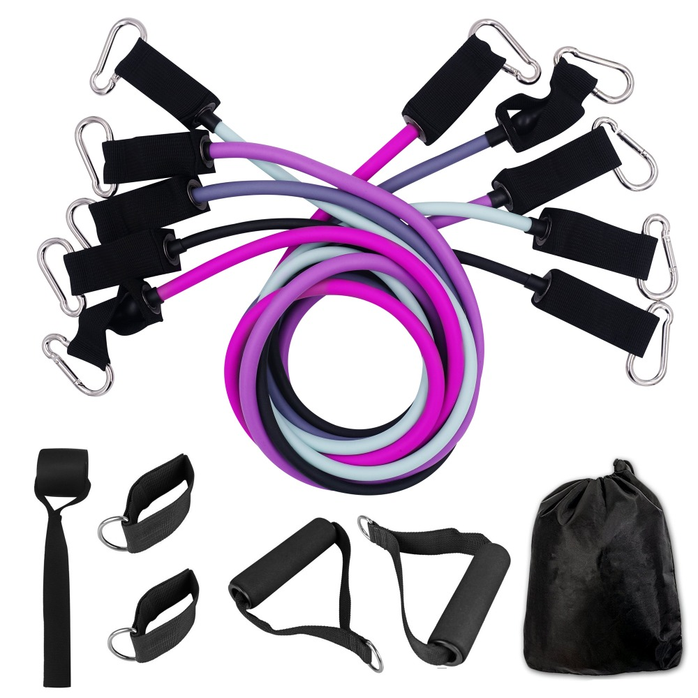 11PCS TPE Resistance Bands Set Elastic Tube Bands With Door Anchor For Fitness Home Gym Resistance Training Workout Yoga Pilates