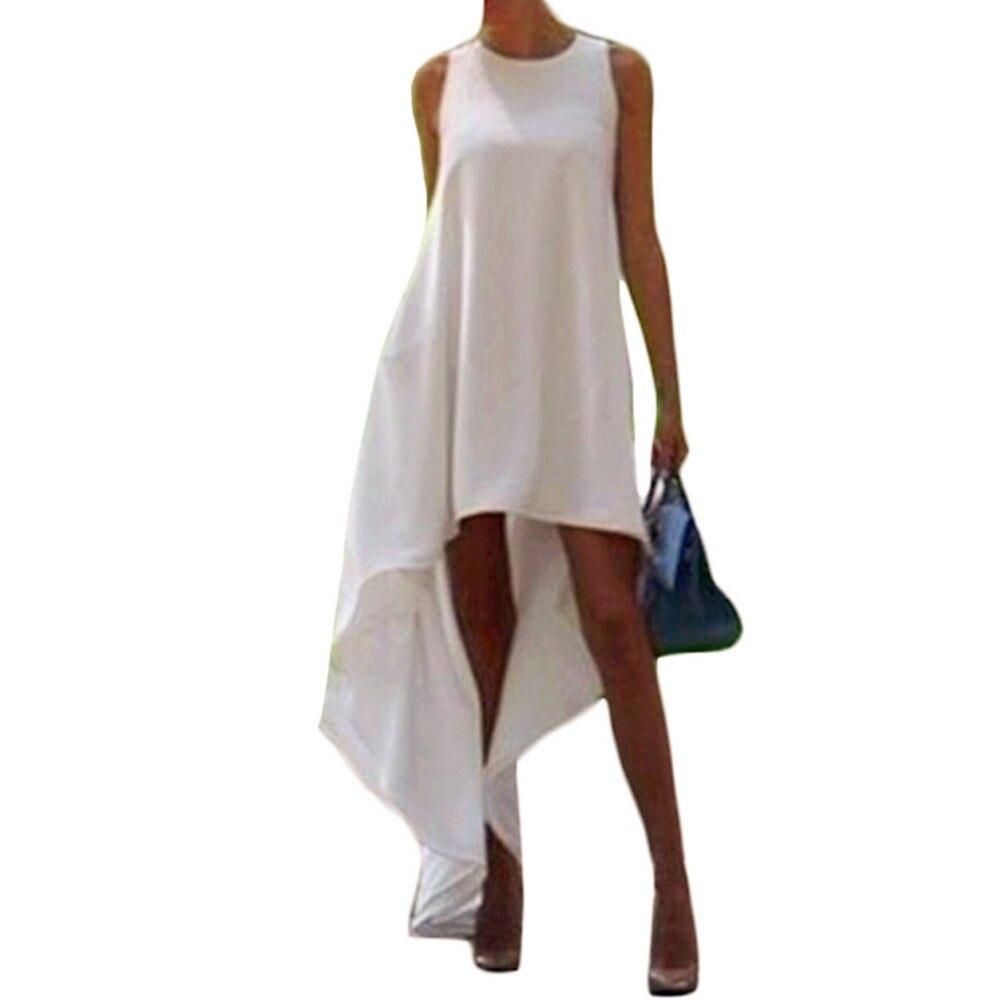 Boho Dress White Solid Color Irregular Beach Tunic Dresses 2017 Summer O Neck Sleeveless Loose Long Maxi Dresses Party Bohemian
