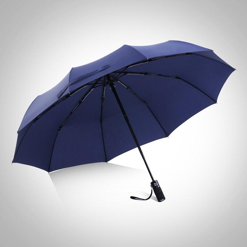 Grand parapluie entièrement automatique dix os voiture utilisation résistant au vent créatif homme femme pliable Simple trois fois parapluie