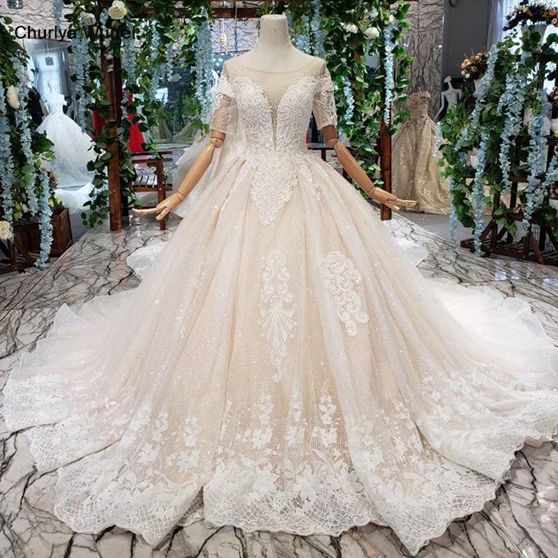 HTL383 light champagne wedding dresses with detachable train o-neck short sleeves A-line wedding gowns vestido de noiva simples