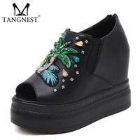 Tangnest Luxo Cristal Mulheres Trepadeiras Apartamentos Plataforma Sapatos Peep Toe Moda Bordar Divisão Ocasional Sapatos De Couro Zip Mulher