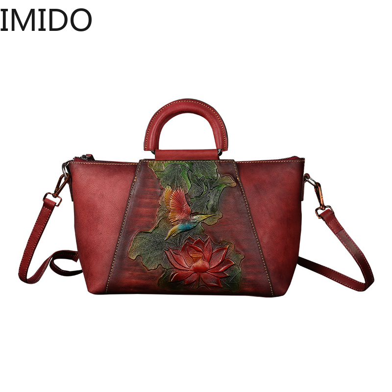IMIDO 2019 Leather Cowhide Womens Single Shoulder Hand-painted Embossed Bat Womans Bags Brand Designers Famous Genuine LeatherIMIDO 2019 Leather Cowhide Womens Single Shoulder Hand-painted Embossed Bat Womans Bags Brand Designers Famous Genuine Leather