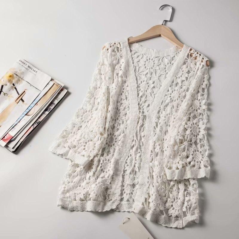2019 Mulheres Blusa de Renda Flor de Crochê Boho Tops E Blusas Das Mulheres Do Vintage Roupa Feminina Das Mulheres Kimono Blusas Tops Para As Mulheres