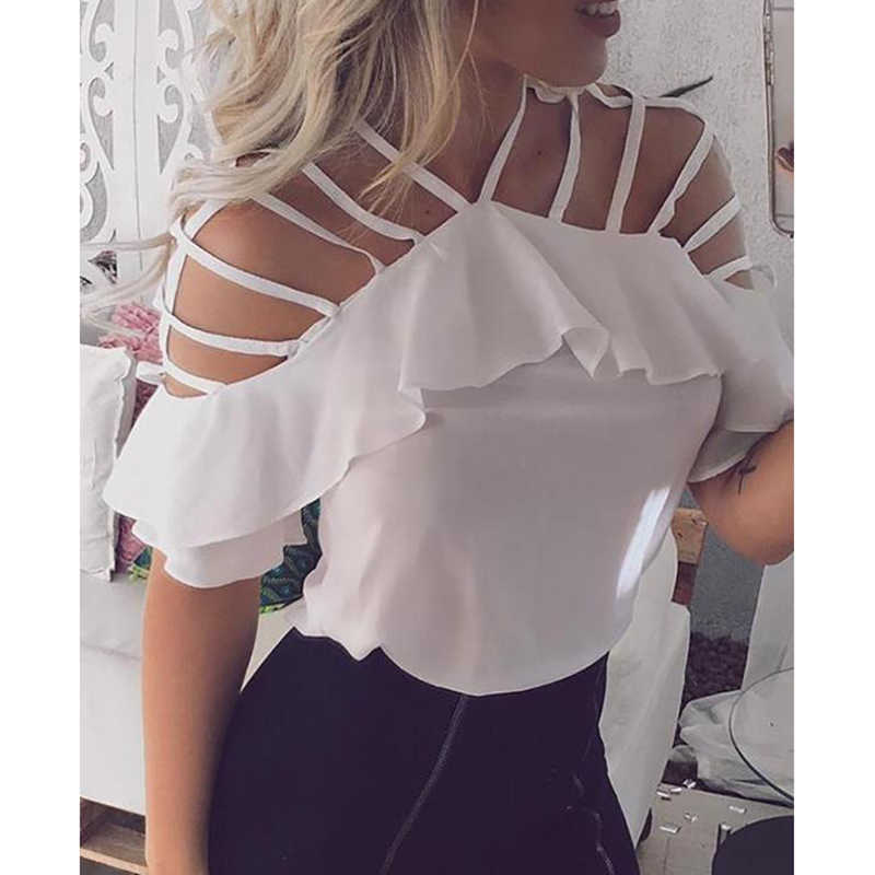 Ladder cut out ruffles blouse shirt women Cold shoulder solid color white blouse Summer 2019 Elegant casual tops Blusas feminino