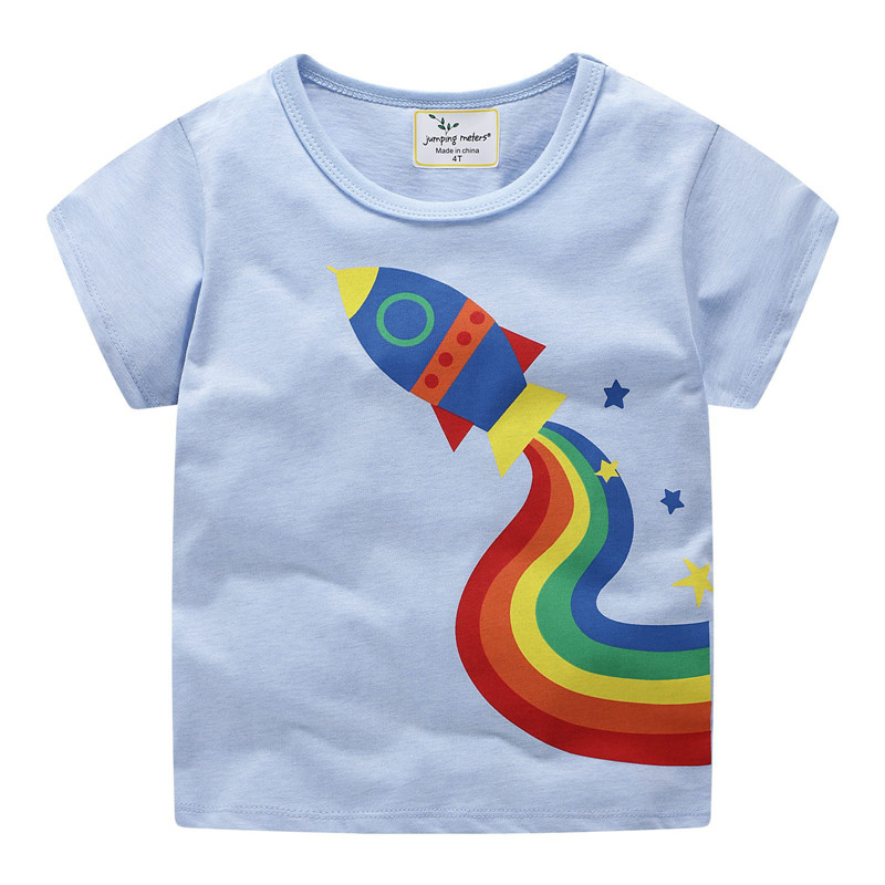 Jumping meters Boys Cartoon aircrafts T shirts Summer Cotton Kids Tees Print character Short sleeve Children Clothes Boy T shirt 7
