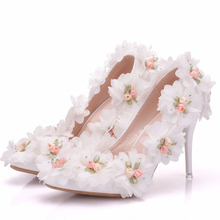 Plus Size Thin Heel White Flowers Wedding Shoes Woman Luxury Handmade White Sweet High Heel Bow Shoes XY-A0205 все цены