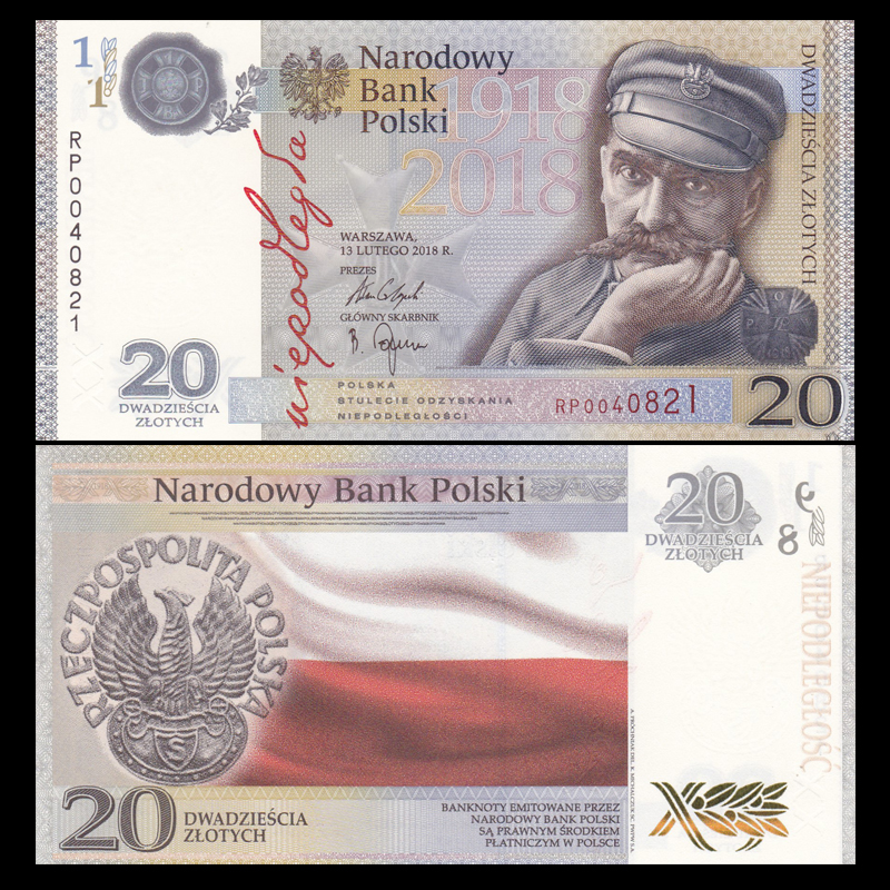 Poland  20 zl Independence UNC folder 2018