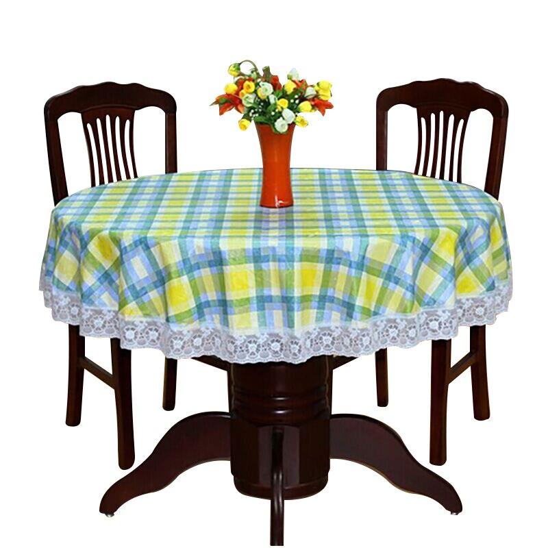Toalha de mesa redonda pvc pastoral impermeável oilproof plástico cobre floral impresso borda do laço anti panos de mesa de café quente