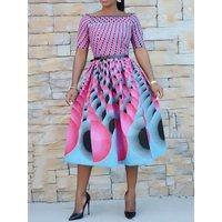 Sweet Vintage Elegant Party Summer Pink Women Midi Dresses Aline African Off Shoulder Print Retro Female Fashion Chic Dress