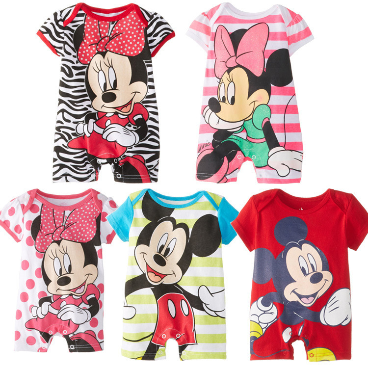 2017 Summer Baby Girls Cute Rompers Newborn Baby for 0-24M Clothing Set Short Sleeve Cartoon Mickey Baby Boys Infant Jumpsuits cotton baby rompers set newborn clothes baby clothing boys girls cartoon jumpsuits long sleeve overalls coveralls autumn winter