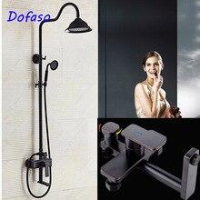 Dofaso antique oil matte shower black set Bronze Bathroom Shower Faucet Mixer Wall Mount 8