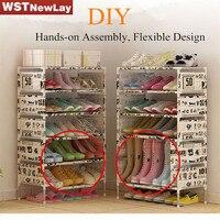 DIY Non-Woven Fabric Storage Shoe Rack Hallway Cabinet Organizer Holder Removable Door Shoe Storage Shelf Free Shipping