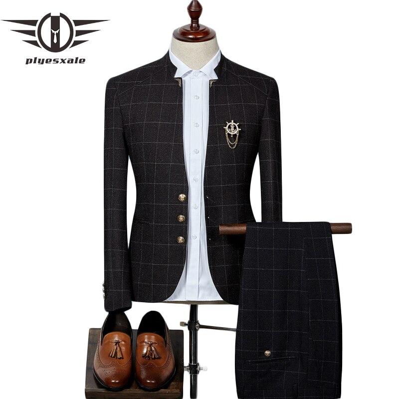 Plyesxale hommes Plaid costumes dernier manteau pantalon conceptions Style chinois col montant Slim Fit marié mariage costume vêtements de cérémonie Q341