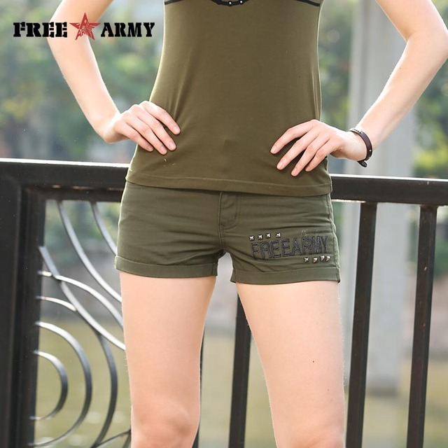 Freearmy 2016 Summer Style Fashion Women short Pants Waist Belt Casual Special Design Pockets Skinny army green Pants  GK-9501A