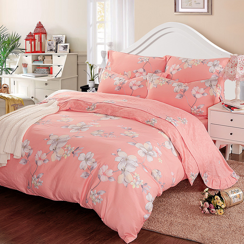 100% Cotton Bedding set Cherry blossoms printing Bed linens duvet cover 4pcs Home Breathable Smooth bedding sets Pillowcase set