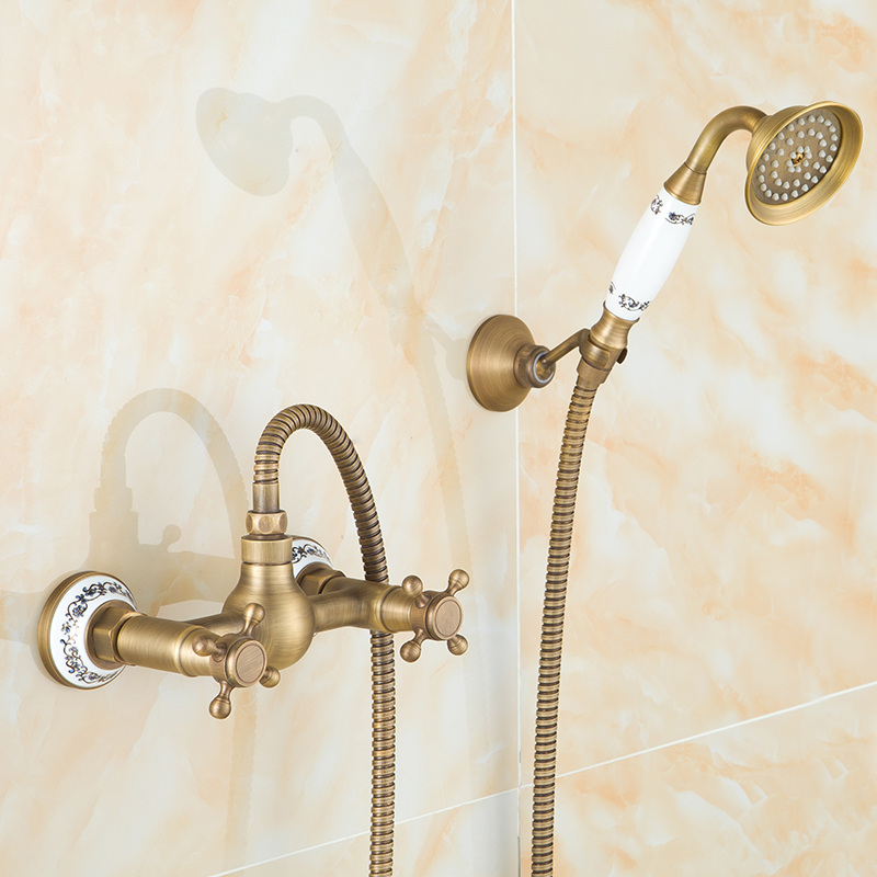 Antique wall mounted copper shower faucet set water hot and cold, European shower set bathroom shower faucet mixer tap vintage bathroom shower plumbing hardware kit copper three speed faucet hot and cold shower set bathroom faucet