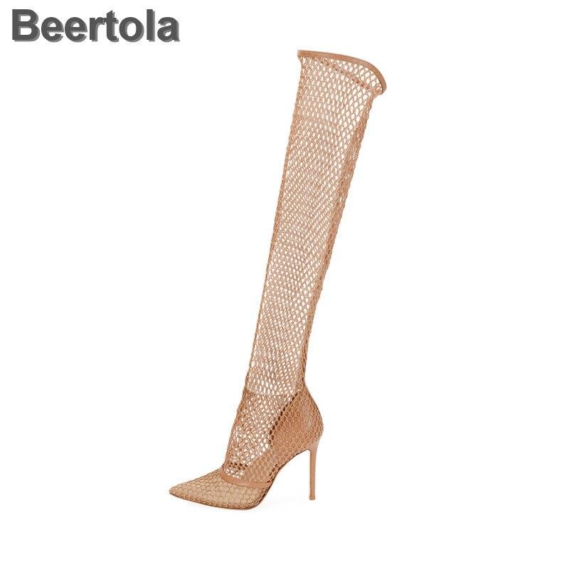 Talons fins maille femmes sandales hautes Rome sans lacet chaussures d'été creux Cool Sexy sandales bottes créateur de mode Sapatos Mulher