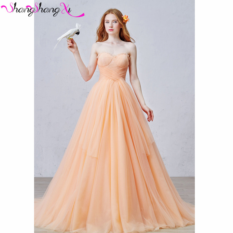 sweetheart orange tulle ball gown wedding dresses robe de mariage long train lace custom real pictue