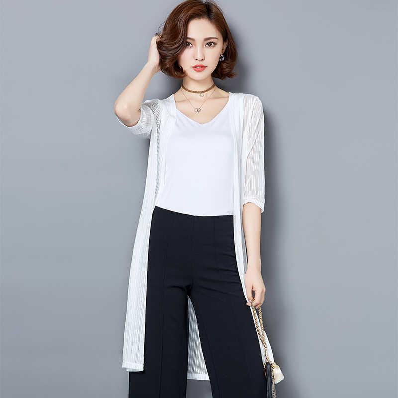 Verano mujeres señoras chal malla media manga Casual Top blusa nueva moda mujeres Tops cárdigan talla grande Elegante ropa de oficina