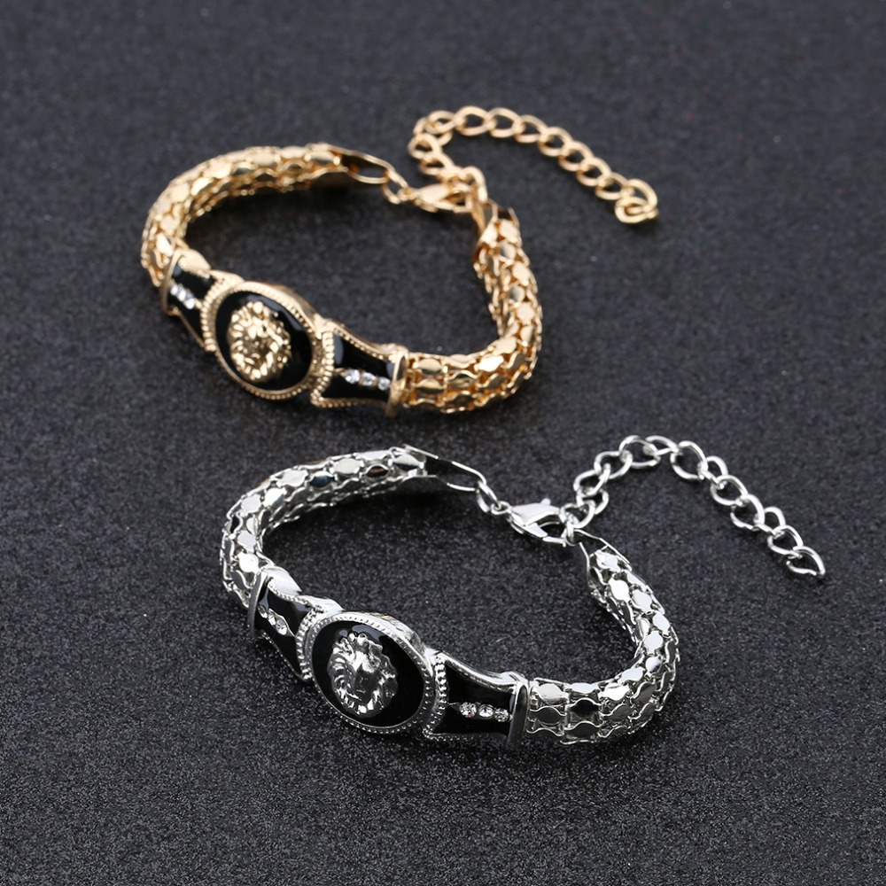 Women Alloy Plated Bracelet Lions Head Bangle Lovers Gift Golden/Silver Fashion Female Party Accessories