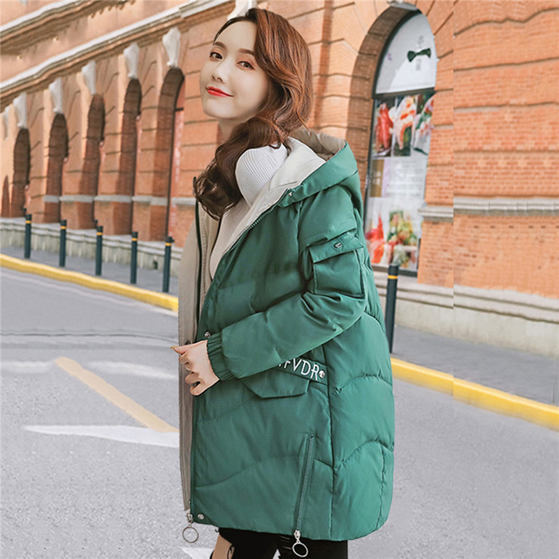 Cotton Parkas Female Medium Long Thickening Warm Jacket Large Size Loose Hooded Cotton Coats 2019 Winter Women Overcoat TTT174