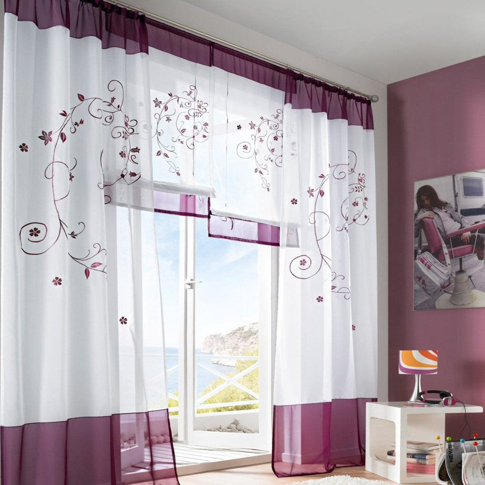 Nova Cortina Painel Cortina De Voile Net Com Bordado Floral Tulle