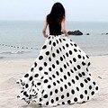 2017 New chiffon long skirt women's elastic waist female plus size summer skirts polka dot print beach maxi skirts good quality