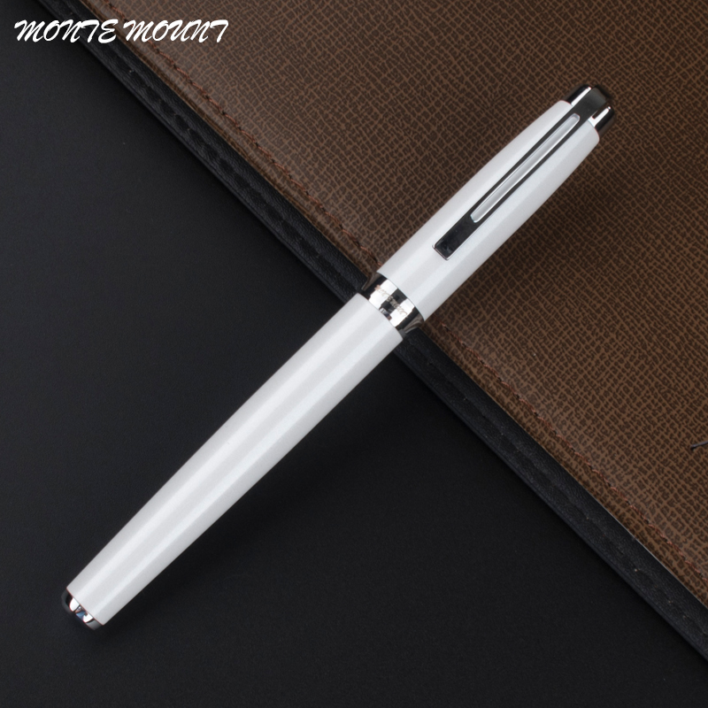 MONTE MOUNT 163 Porcelain white silver clip Luxury roller ball pen with school office supplies writing gift pens jinhao rare golden double dragon pattern roller ball pen luxury stationery school office supplies brand writing gift pens