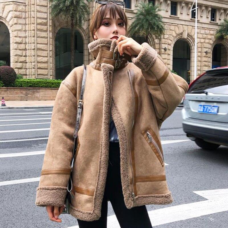 Manteaux en cuir en fausse fourrure femme, vêtement d'extérieur chaud pour motard, Style d'hiver, A289