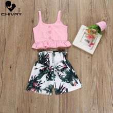 Chivry 2Pcs 2019 Cute Flamingo Toddler Baby Girls Vest Crop Tops Short Pants Outfits Clothes Clothing Set for 2-6T