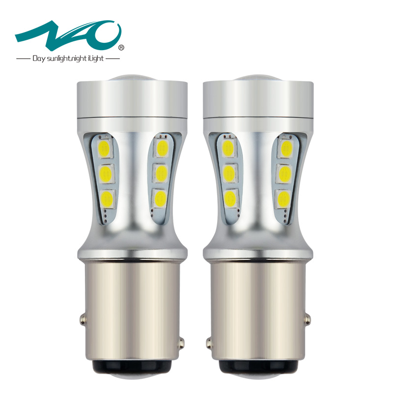 NAO 2x P21/5W LED Car BAY15D led Bulb 1157 Tail Signal Brake Stop Reverse DRL Light 5W 3030 18 led smd Yellow Red 6000K White merdia 1157 22 x smd 1206 led blue light car brake backup light 2 pcs