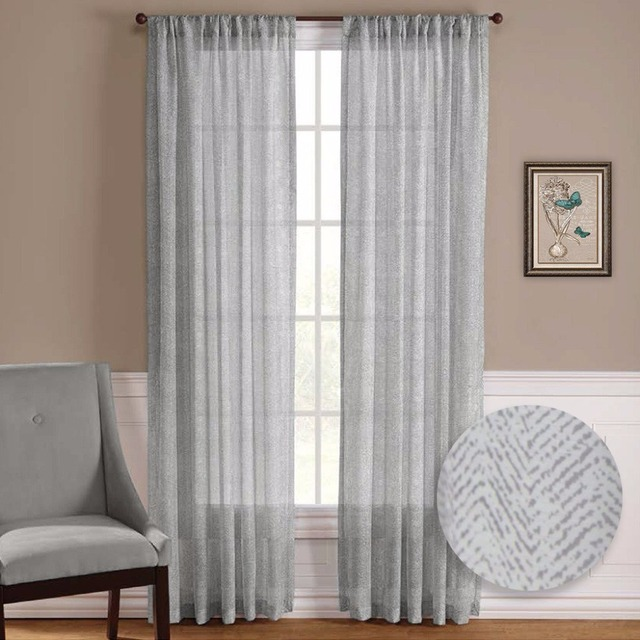 NICETOWN One Pair Zig Zag Chevron Pattern Sheer Window Curtains / Drapes  For Living Room Window