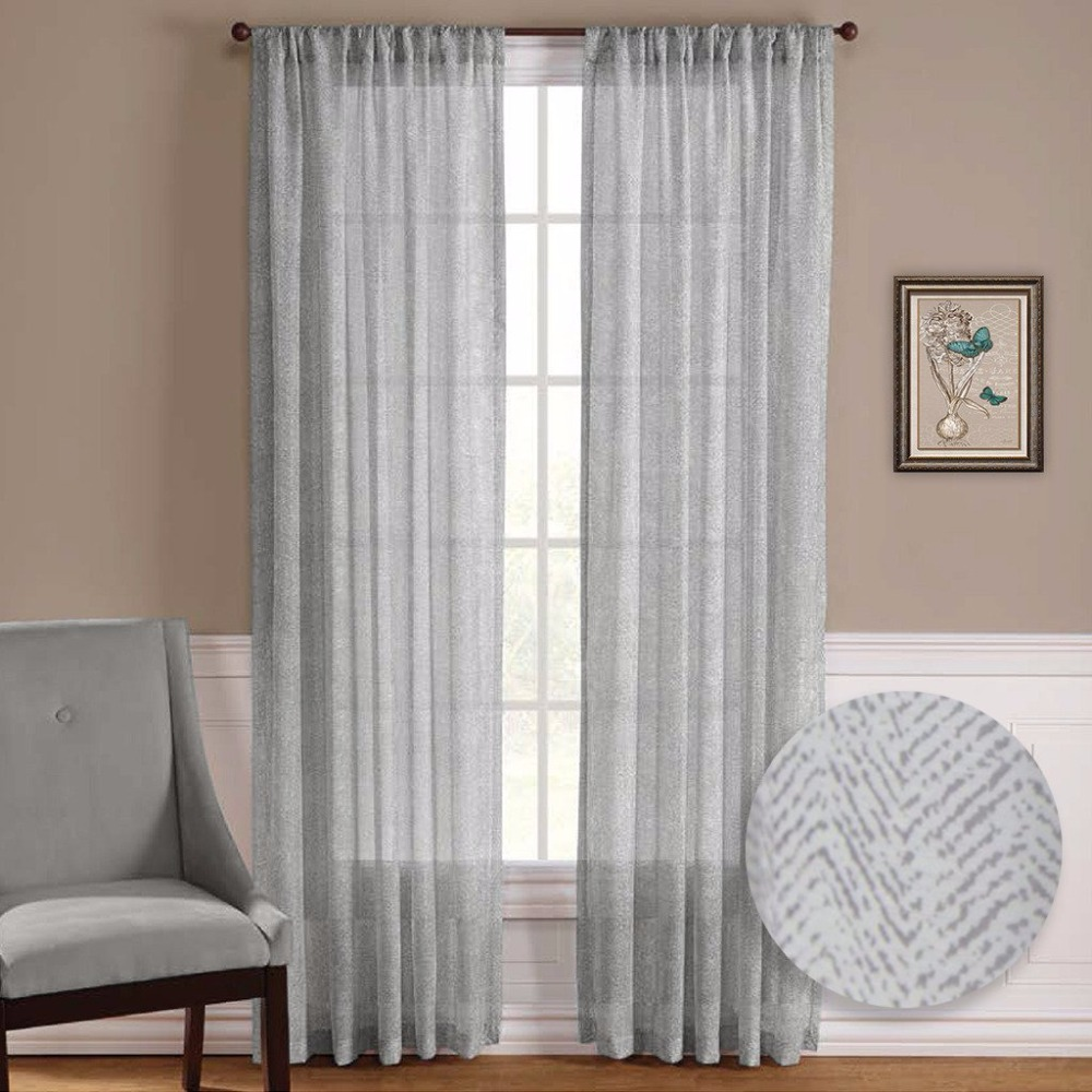 NICETOWN One Pair Zig Zag Chevron Pattern Sheer Window Curtains / Drapes  For Living Room Window Treatment Rod Pocket
