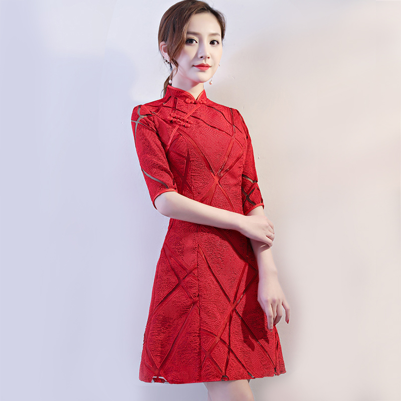 Chinese Style Wedding Mini Cheongsam Retro Slim Party Evening Dress Marriage Gown Qipao Fashion Lady Clothes