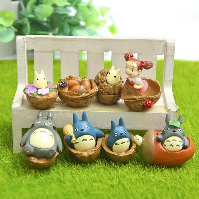 8 Style Studio Ghibli My Neighbor Totoro Resin Figures Toy DIY Walnut Totoro Mei Fairy Dust Action Figure Toys Micro Landscape