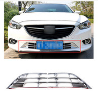 For Mazda 6 Atenza 2013 2015 ABS Chrome Front Bottom Grille Grill Frame Trims Exterior Chromium Styling Parts 2pcs 2014