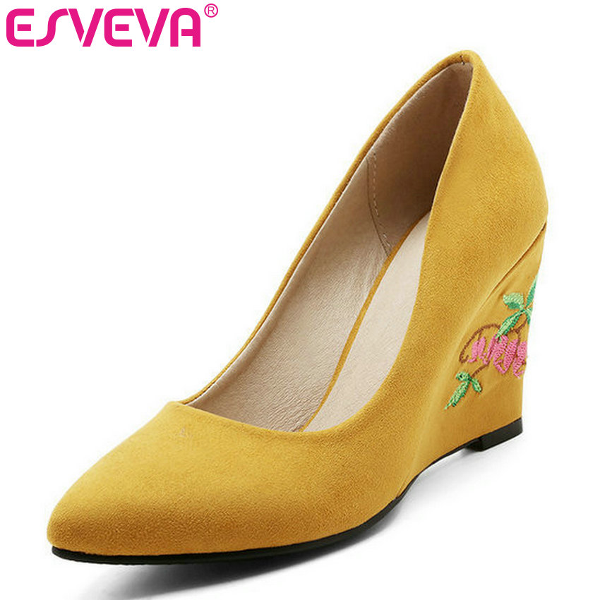 ESVEVA 2017 Flower Wedges Heel Woman Pumps Spring Autumn Shoes High Heel Women Shoes Yellow Flock Wedding Shoes Big Size 34-43 newest solid flock high heel pumps woman