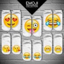 2016 New 3D Print Emoji Socks Women Low Cut Ankle Sokken Funny Cute Emoji Print Meias Feminina Kawaii Chaussette Femme